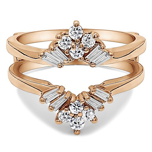 TwoBirch 0.44 ct. Cubic Zirconia V Shaped Round and Tapered Baguette Ring Guard in Rose Gold Plated Sterling Silver (3/8 ct. twt.) - Asscher Tapered Ring