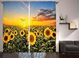 Ambesonne Mediterranean Farmhouse Country for Home Decor, Sunflowers Field in Spring Sunset Habitat Scenery, Living Room Bedroom Curtain 2 Panels Set, 108 X 84 Inches, Green Yellow Blue Review