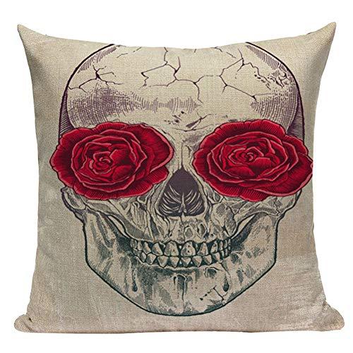 Nunubee Happy Halloween Decorative Throw Pillow Cover Linen Cushion Cover 18x18 Inch - Skull G