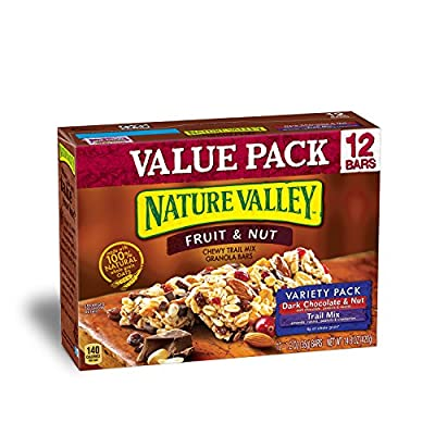 Nature Valley Chewy Trail Mix Variety Pack, Dark Chocolate and Nut/Fruit and Nut, 12 Count