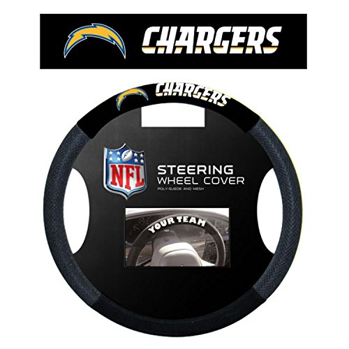 NFL San Diego Chargers Steering Wheel Cover, Black (Steering Wheel Cover Chargers compare prices)