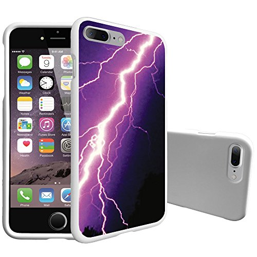 MINITURTLE Compatible with Apple iPhone 7 Plus [Customized Designs][2Piece Snap On Case] Purple Lightning Bolt