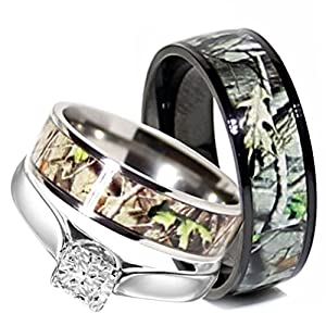 his and her camo wedding rings camo wedding rings set his and hers 3 rings 4805