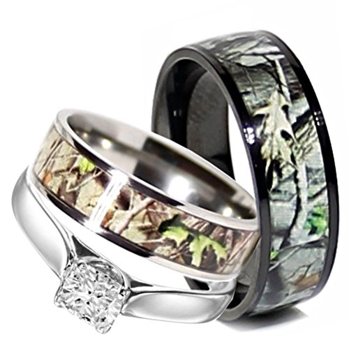 Camo Wedding Rings Set His and Hers 3 Rings Set, Stainless Steel and Titanium (Size Men 10; Women 7)