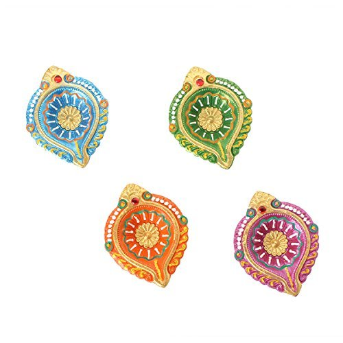 Set of 4 Diyas Handmade Decorative Diwali Clay Earthen Multicolor Terracotta Decorative Oil Lamps With Rhinestone Diwali - Clay Stores Terrace