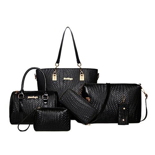 HT Women Bag Set - Bolso de asas para mujer negro