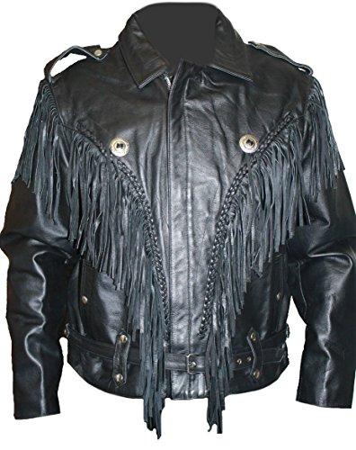 Mens Fringed Leather Motorcycle Jacket - 4