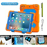 Aceguarder global design new products iPad mini 1&2&3 case snowproof waterproof dirtproof shockproof cover case with stand Super protection for kids Outdoor adventure sports tourism Gifts Outdoor Carabiner + whistle + handwritten touch pen (ACEGUARDER brand)(Orange/Blue)