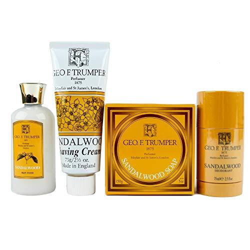 Geo F. Trumper Sandalwood Men's Skin and Body Care Set- Shaving Cream, Skin Food Aftershave, Soap Bar, and Deodorant -