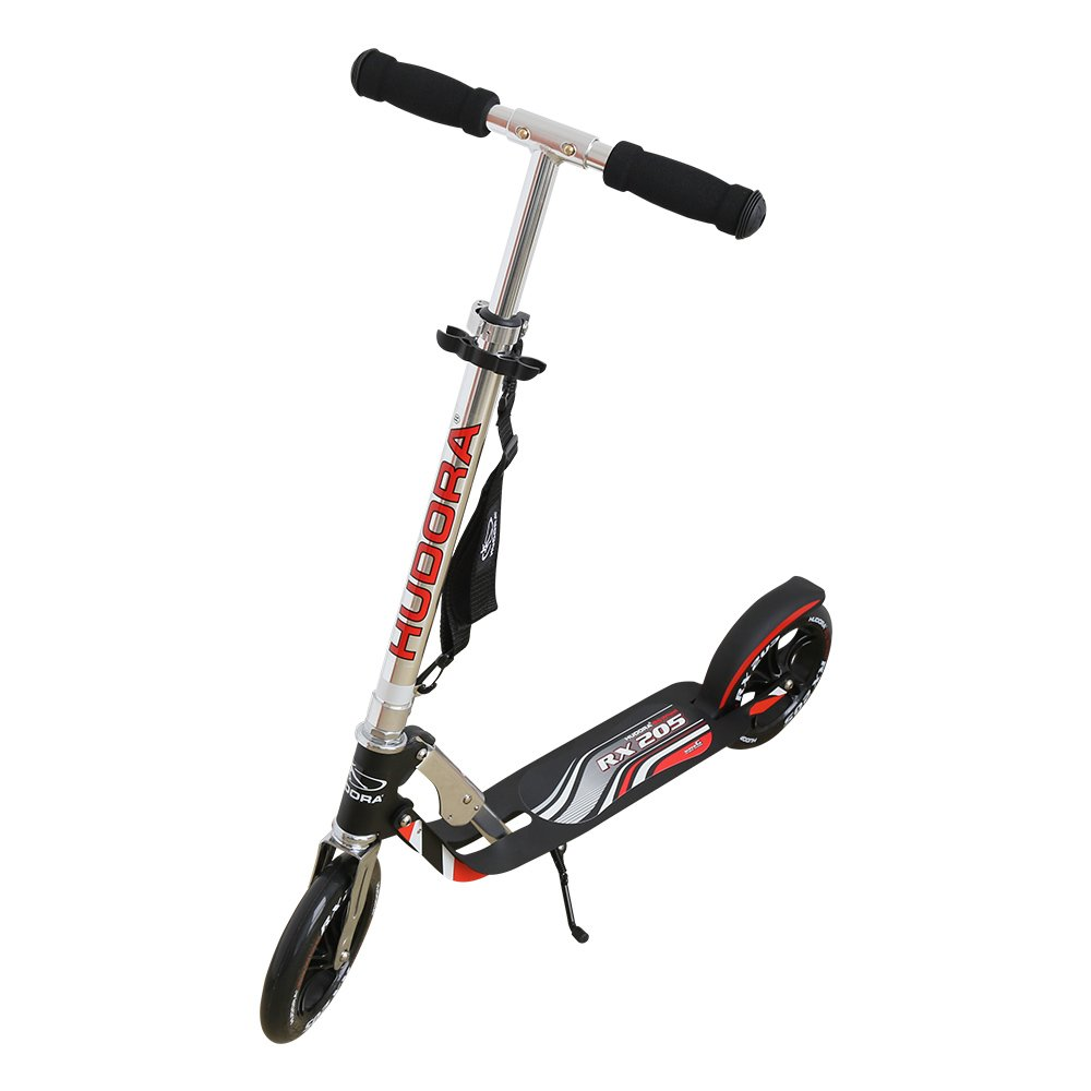 Hudora 205 Kick Scooter with Big PU Cast Wheel Foldable and Adjustable T Handlebar, Reinforced Deck Supports 220lbs Weight Limit(Black)