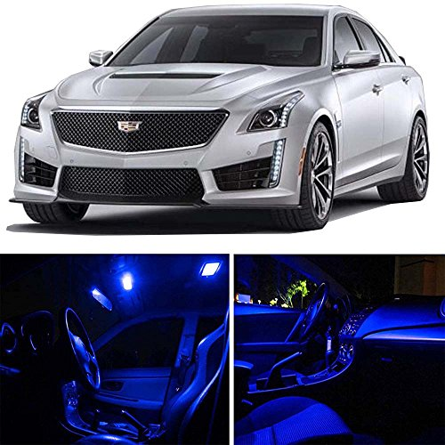 cciyu 16 Pack Blue LED Bulb Replacement fit for 2008-2015 Cadillac CTS LED Interior Lights Accessories Replacement Package Kit ()