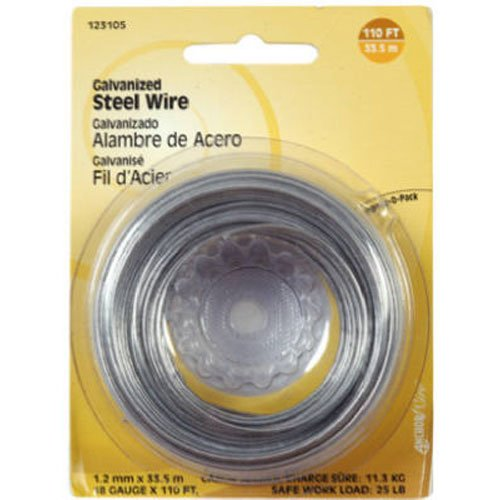 The Hillman Group 123130 16 Gauge Galvanized Steel Wire, 25-Feet, 1-Pack