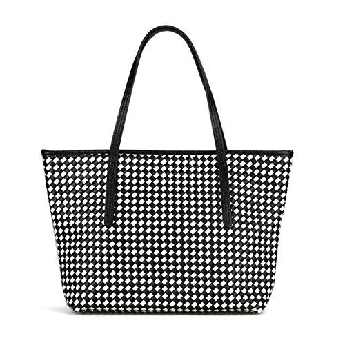 Ladies Designer Handbag, SUSEN Womens Fashion Woven Shoulder Bag Large Shopper Tote (Black+White)