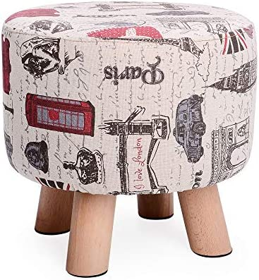H B Luxuries Fabric Round Padded Ottoman Foot Rest Stool 4 Legs-Vintage Beige