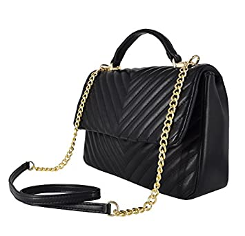 7b135883b95b CRAZYCHIC - Women s Crossbody Bag Top-Handle - Satchel V Form Quilted Padded  Chevron Smooth