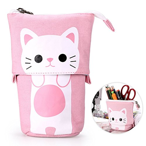 Telescopic Pencil Pouch Standing Pen Holder Cute Pencil Bags Stand Up Pen Case Cartoon Pencil/Pens Storage Box Canvas+PU Stationery Organizer Makeup Bag with Zipper Closure (Pink)]()
