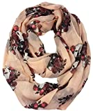 Lina & Lily Gothic Style Rose Skull Print Women's Infinity Scarf Lightweight (Nude)