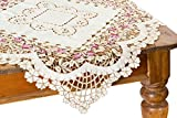 Xia Home Fashions Rose Garden Embroidered Cutwork Floral Table Topper, 54-Inch by 54-Inch