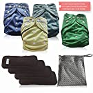 AngelicWare Cloth Diapers Set. Reusable all in one size Baby Pocket Diaper Cover + 5 Layer Bamboo Inserts. Best Diapering Gift Bundle Pack. Keep them Happy & Dry + bonus eBOOK