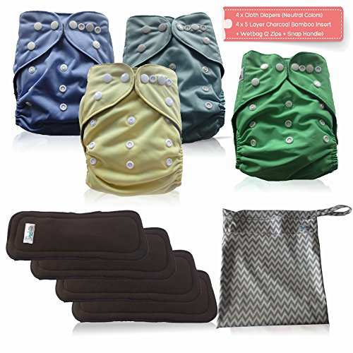AngelicWare Cloth Diapers Set. Reusable Baby Pocket Diaper Cover + 5 Layer Bamboo Inserts + bonus eBOOK (4 Pack)