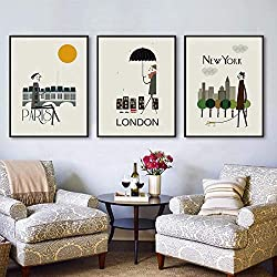 LIEFENGDAO Canvas Print Painting,3 Piece Abstract City New York London Paris Prints Poster Canvas Printings Paintings Pop Wall Art Pictures for Living Room Home Decor,50X70Cm