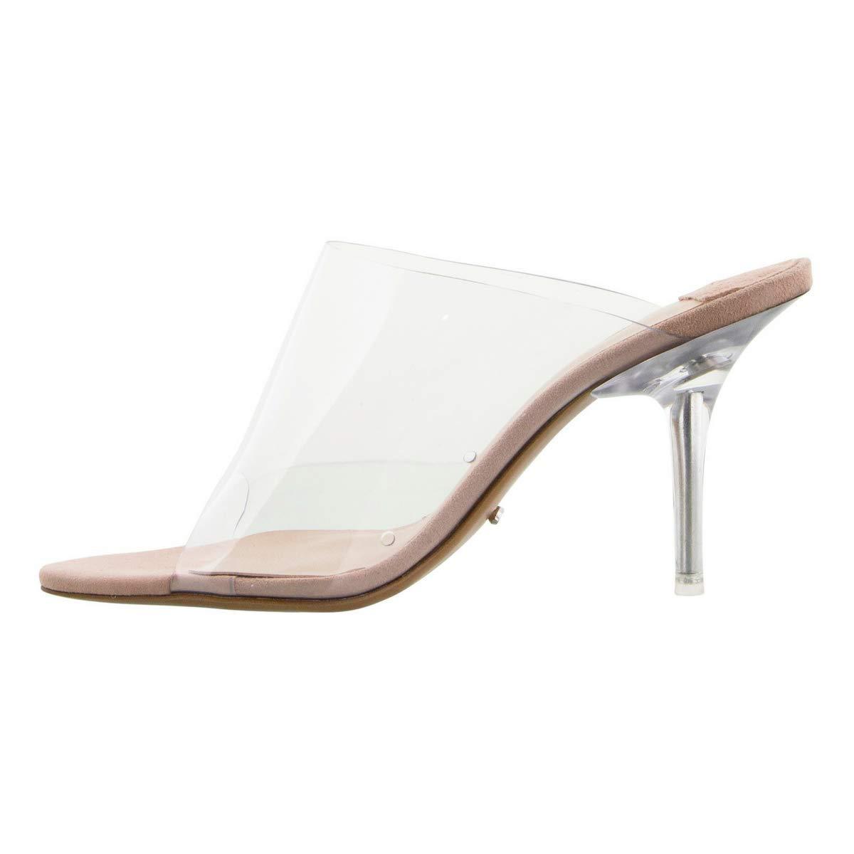 Clear Vinyalite Upper Slip On Mule with Open Toe and Clear Stiletto Heels Tony Bianco Indigo Stiletto Heels