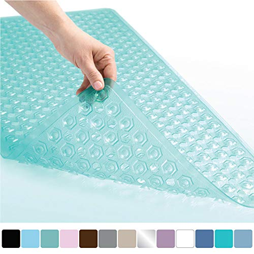 Gorilla Grip Original Patented Bath, Shower, Tub Mat (35x16) Machine Washable, Antibacterial, BPA, Latex, Phthalate Free, Bathtub Mats with Drain Holes and Suction Cups, XL Size Bathroom Mats (Green) ()