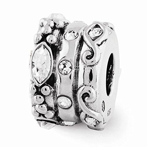 Sterling Silver s Swarovski Elements Fancy Bali Bead by Reflection Beads ()