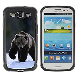 ZETECH CASES / Samsung Galaxy S3 I9300 / THE WINTER GRIZZLY BEAR / El Invierno grisáceo oso / Robusto Caso Carcaso Billetera Shell Armor Funda Case Cover Slim Armor
