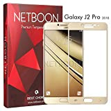 NETBOON Premium Samsung Galaxy J2 Pro (2018) Tempered Glass Screen Protector Edge To Edge Coverage Screen Guard Gorilla Glass - Gold