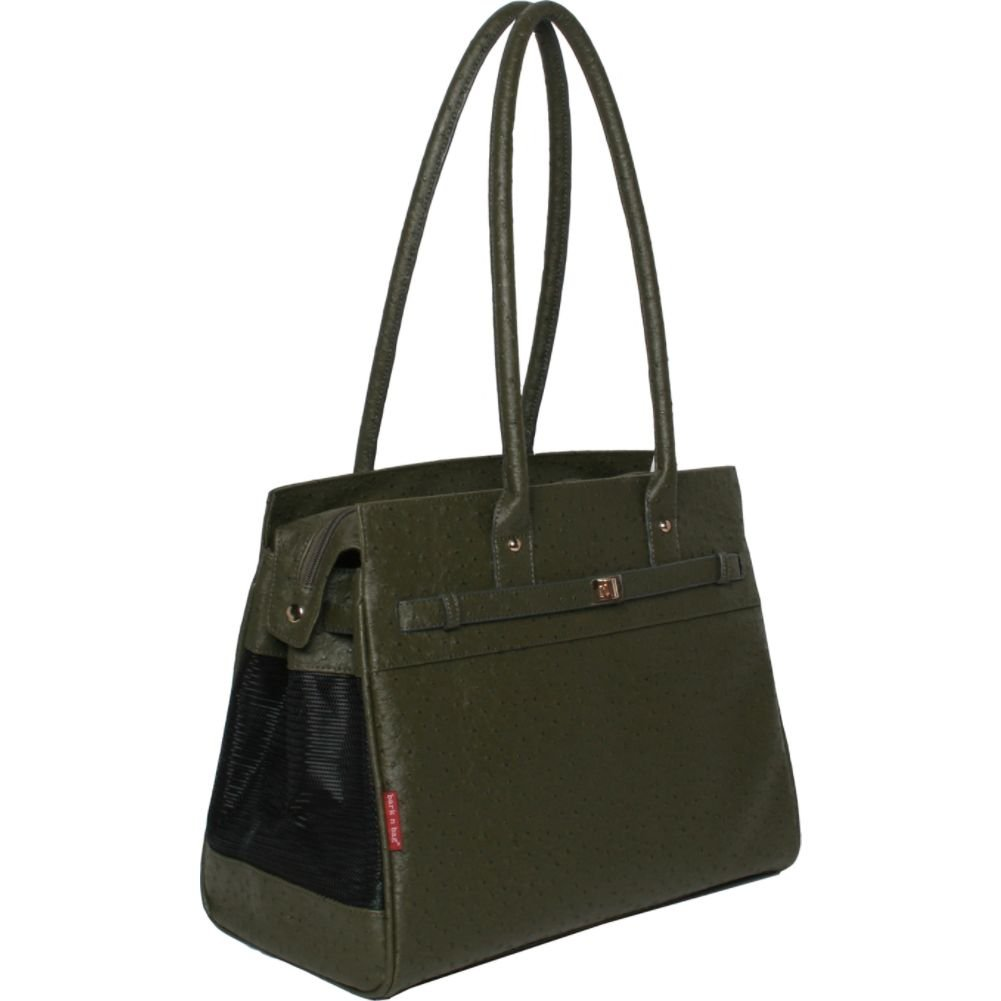 Bark-N-Bag Exotic Line Ostrich Olive Pet Carrier