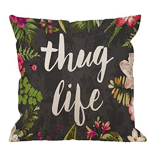 HGOD DESIGNS Throw Pillow Case Flowers Thug Life Cotton Linen Square Cushion Cover Standard Pillowcase for Men Women Kids Home Decorative Sofa Armchair Bedroom Livingroom 18 x 18 inch