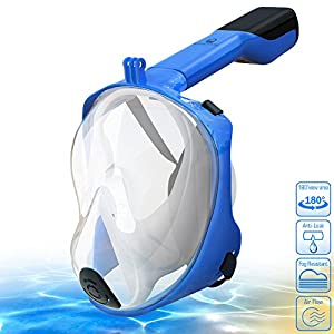 [NEW 2018 UPGRADED] Snorkel Mask Full Face - 180° Large Panoramic View - Foldable Snorkeling Mask with Detachable Camera Mount, Easy Breath Dry Top Set, Anti-fog for Men, Women, Adults Youth