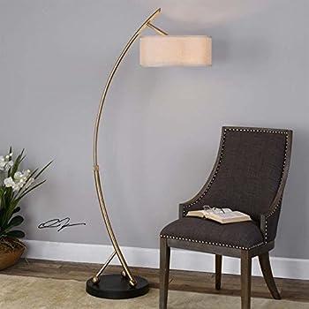Uttermost 28089 1 Vardar Two Light Curved Floor Lamp
