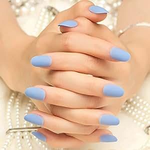 Amazon.com : 24pcs Matte Sky Blue False Nails Kit Lady ...
