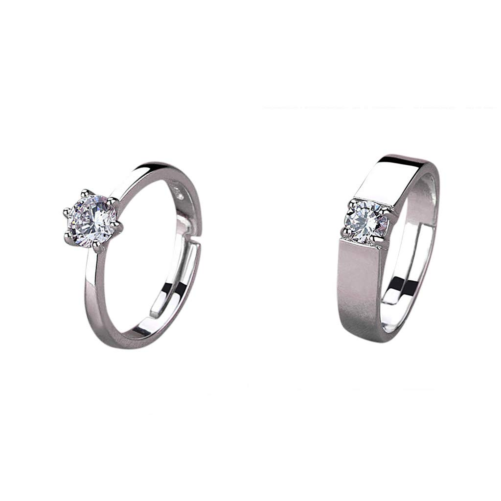 7f55f486e Amazon.com: Lethez Wedding Rings for Women Men Crystal Rhinestone Ring  Engagement Bands Jewelry Couple Ring (Set, Adjustable): Jewelry