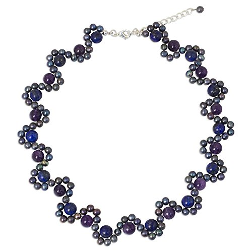 NOVICA Multigem Dyed Gray Cultured Freshwater Pearl Silver Plated Beaded Necklace,15.25