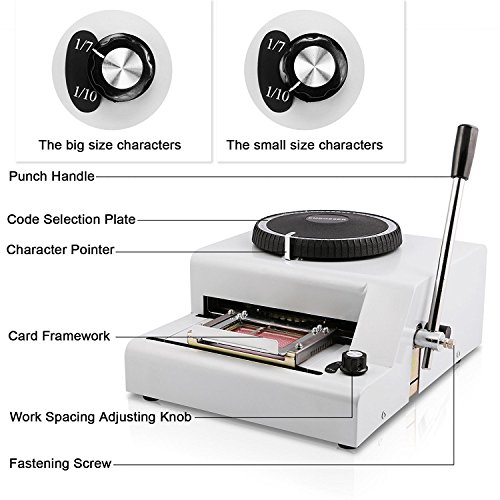 Happybuy Embossing Machine 72 Character Card Embosser for PVC Card Credit ID VIP Manual Embosser Machine Credit Card by Happybuy (Image #6)