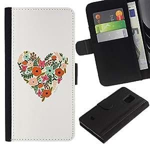 For Samsung Galaxy S5 Mini(Not S5), SM-G800 Case , Spring Floral Pattern Love Summer - la tarjeta de Crédito Slots PU Funda de cuero Monedero caso cubierta de piel