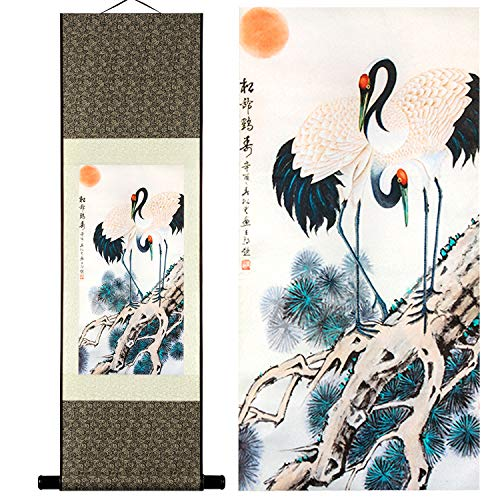 - UNIQUELOVER Asian Silk Scroll & Picture Scroll & Wall Scroll Calligraphy Hanging Artwork-Pine Cranes Painting