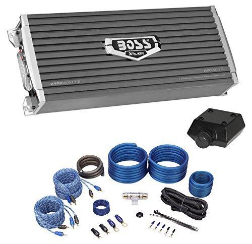 Boss Audio AR2400.4 2400 Watt 4-Channel Car Audio Amplifier+Amp Kit+Bass Remote (Car Amplifier Watt 450)