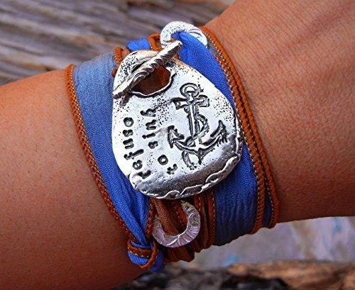 Inspirational Jewelry Gift, Inspirational Bracelet, Inspirational Gift Silk Wrap Bracelet, Refuse to Sink Inspirational Wrap Bracelet
