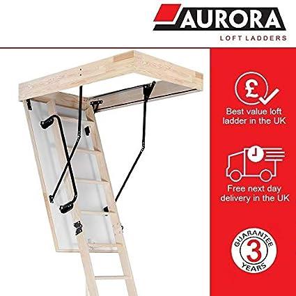 Aurora Thermo Folding Timber Attic Loft Ladder Insulated Hatch 55 X 110cm