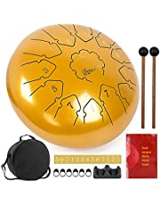 lotmusic Steel Tongue Drum 12inch Handpan Drum Kit Tank Drum Percussion Instrument with Drum Mallets Carry Bag Music Book for Beginner Adult Kids