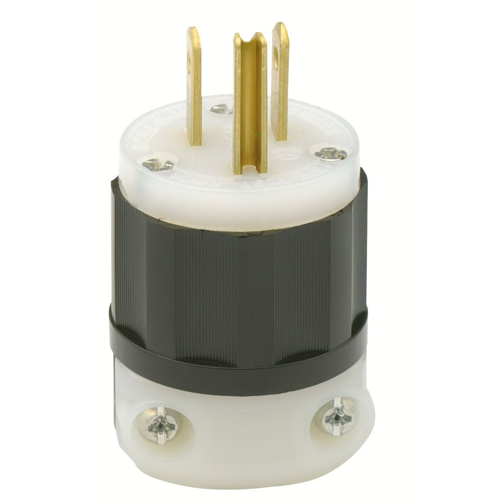 Leviton 5266 C 15 Amp 125 Volt Industrial Grade Plug Straight Electrical Receptacle 3 Wire 20 Amps 250v Nema 6 20r Yga022f Ebay Blade Grounding Black White