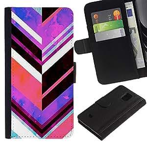 Planetar® Modelo colorido cuero carpeta tirón caso cubierta piel Holster Funda protección Samsung Galaxy S5 Mini (Not S5), SM-G800 ( Chevron Pattern Purple Abstract Lines )