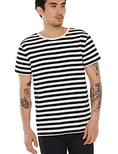 Zbrandy Black and White Striped Shirt Men T Shirt Cotton Top Tee Narrow Black Stripe L