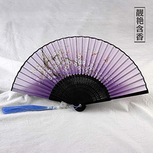 Ventilador infantil antiguo ventilador plegable de viento Ventilador plegable de estilo chino borla de traje de mujer portátil E: Amazon.es: Hogar