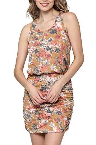 LaClef Women's Mini Ruched Tank Shift Dress (Mustard Flower, M)