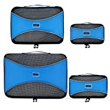 PRO Packing Cubes - 4 Set - Ultimate Travel Packing Cube System for Luggage, Backpacks, Tote Bags & weekend Bags (4 Piece Set, Sky Blue)